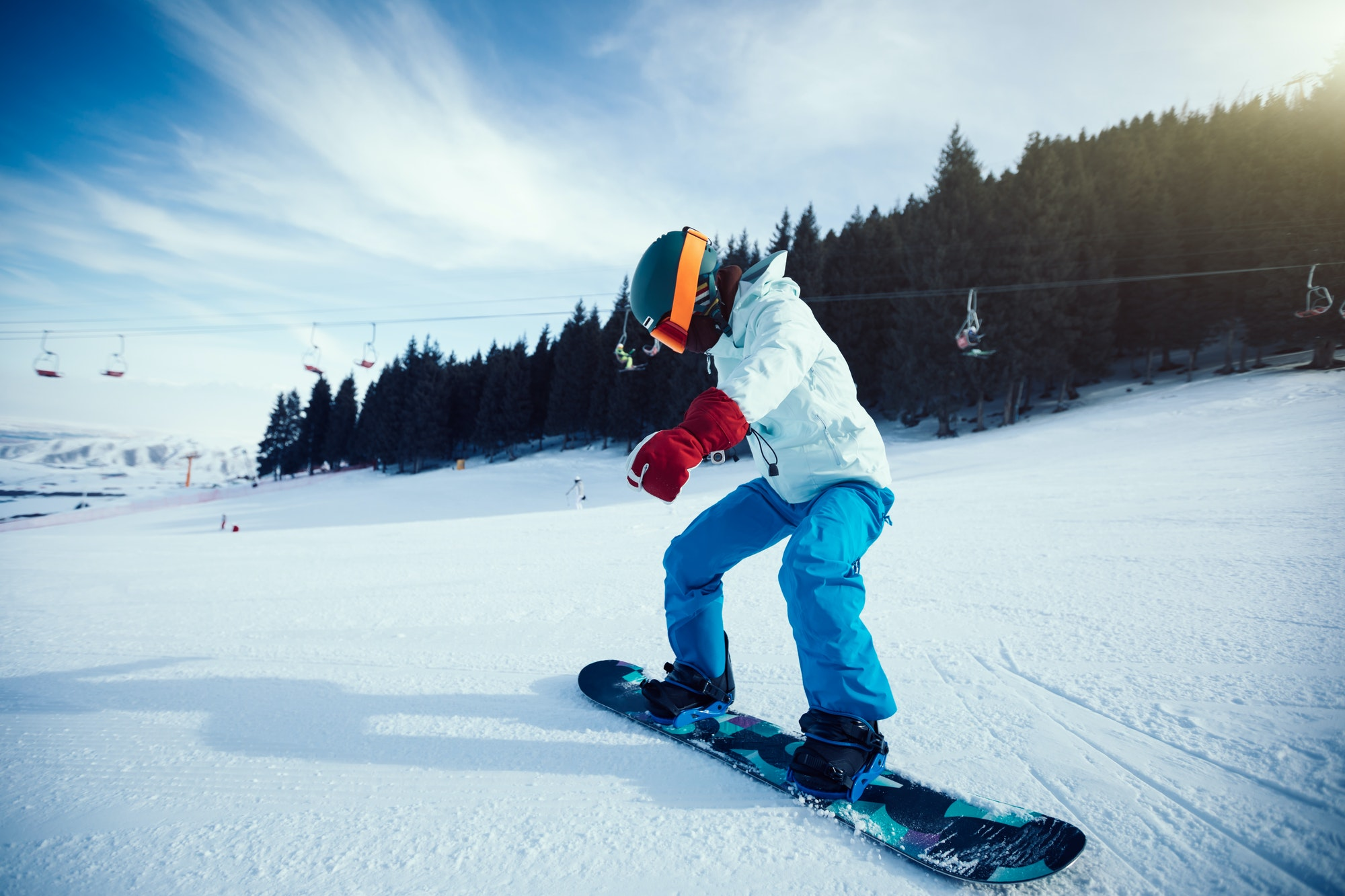 Snowboarding at ski resort
